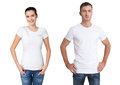 Shirt design and people concept - close up of young man and woman in blank white t-shirt isolated. Royalty Free Stock Photo