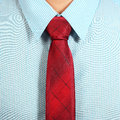 Shirt and necktie blue with red close up Stock Photo