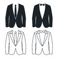 Shirt tie and bow business suit silhouette lineart vector illustration Royalty Free Stock Photo
