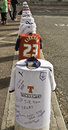 Shirt tributes preston lancashire uk th february left at preston north end football ollowing the death of sir atom finney at the Royalty Free Stock Images