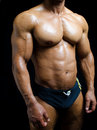 Shirtless male bodybuilder in trunks really muscular body torso ripped bicep arms and pecs on black background Royalty Free Stock Image