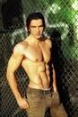 Shirtless male fashion model Royalty Free Stock Photo