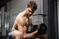 Shirtless man lifting heavy dumbbell on bench Royalty Free Stock Photo
