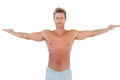 Shirtless man opening his arms on white background Stock Image