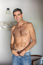 Shirtless man smiling portrait of handsome middle aged Royalty Free Stock Photos