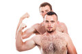 Shirtless men show biceps two showing isolated on white background Stock Photos