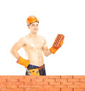 Shirtless muscular male construction worker holding a brick with helmet behind wall isolated on white background shot with Royalty Free Stock Images