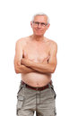 Shirtless senior man portrait Stock Photo