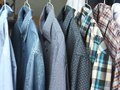 Shirts at the dry cleaners freshly ironed Royalty Free Stock Photo