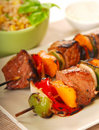 Shish Kabob with barley salad Royalty Free Stock Photo