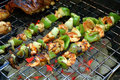 Shish kabob on grill Royalty Free Stock Photo