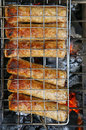 Shish kebab on charcoal Stock Photo