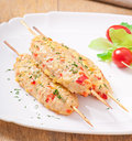 Shish kebab of chicken with peppers and cheese Royalty Free Stock Image