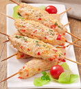 Shish kebab of chicken with peppers and cheese Royalty Free Stock Images