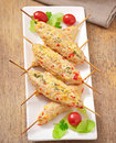 Shish kebab of chicken with peppers and cheese Stock Images