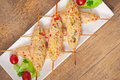 Shish kebab of chicken with peppers and cheese Royalty Free Stock Photos