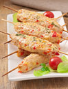 Shish kebab of chicken with peppers and cheese Stock Photography