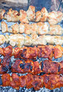 Shish kebab dof on skewers and hot coals Stock Images