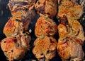 Shish kebab preparation on a brazier. Royalty Free Stock Photos