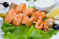 Shish Kebab from  Salmon  .fish roast.close-up Royalty Free Stock Photo