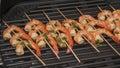 Shish kebab from sea shrimps Royalty Free Stock Photo