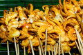 Shish kebab from seafood in the market Royalty Free Stock Photo