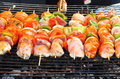 Shish kebab on skewers Stock Photography