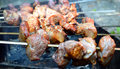 Shish kebab on skewers the grill Stock Photography