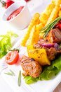 Shish kebab skewers with marinated ham meat paprika and red onio Royalty Free Stock Photo