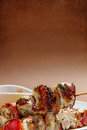 Shish kebab on wooden skewers Royalty Free Stock Image