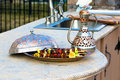 Shish kebabs on outside kitchen concrete counter top presented in a arabic style bowl Royalty Free Stock Image