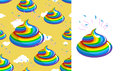 Shit Unicorn pattern. Turd rainbow colors. Kal rainbow fantastic Royalty Free Stock Photo