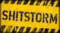 Shitstorm warning sign or icon, worn and grungy, vector illustration Royalty Free Stock Photo