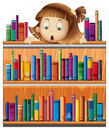 A shocked face of a girl at the back of a wooden shelves with bo illustration books on white background Stock Images