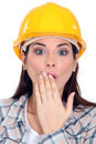 Shocked female builder Royalty Free Stock Photos
