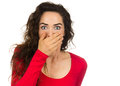 Shocked and frightened woman Stock Image