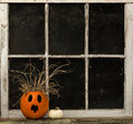 Shocked jack o lantern on a window ledge surprised sits in front of dark Royalty Free Stock Photography