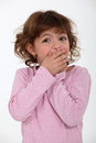 Shocked little girl is scared for some reason Royalty Free Stock Image