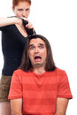 Shocked long haired man and hairdresser Royalty Free Stock Photography
