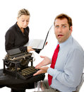 Shocked manager with obsolete equipment Royalty Free Stock Photo