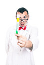 Shocked scientist with test tube portrait of in lab coat holding isolated on white background Royalty Free Stock Photo