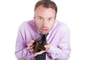 Shocked, surprised speechless man, worker, businessperson holding an empty wallet Royalty Free Stock Photo