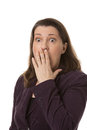 Shocked woman with her eyes wide open isolated Royalty Free Stock Photo