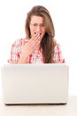 Shocked woman with laptop pretty casual in shirt Royalty Free Stock Photo