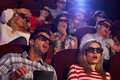 Shocking 3D movie in cinema Royalty Free Stock Photo