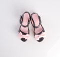shoe or beautiful little girl shoes on a background. Royalty Free Stock Photo