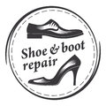 Shoe & boot repair, men`s and women`s shoes. Round frame.