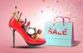 Shoe with cosmetic set and gift bag symbol for present discount products for woman Stock Photography