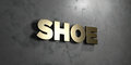 Shoe - Gold sign mounted on glossy marble wall - 3D rendered royalty free stock illustration