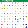 100 shoe icons set, cartoon style